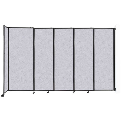 """Wall-Mounted StraightWall Sliding Partition 11'3"""" x 6'10"""" Marble Gray High Density Polyester"""
