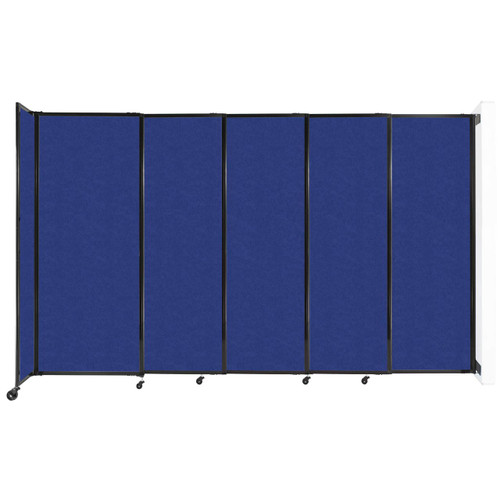"""Wall-Mounted StraightWall Sliding Partition 11'3"""" x 6'10"""" Blue High Density Polyester"""