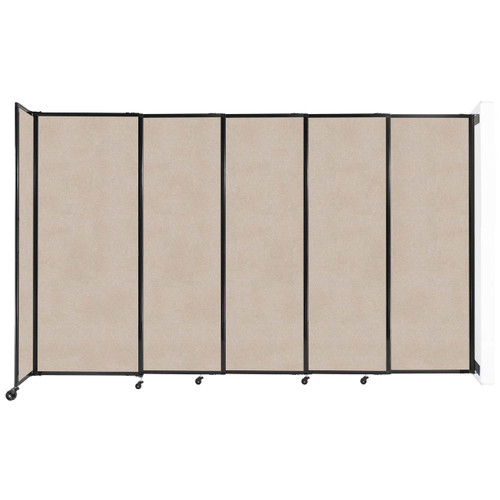 """Wall-Mounted StraightWall Sliding Partition 11'3"""" x 6'10"""" Beige High Density Polyester"""