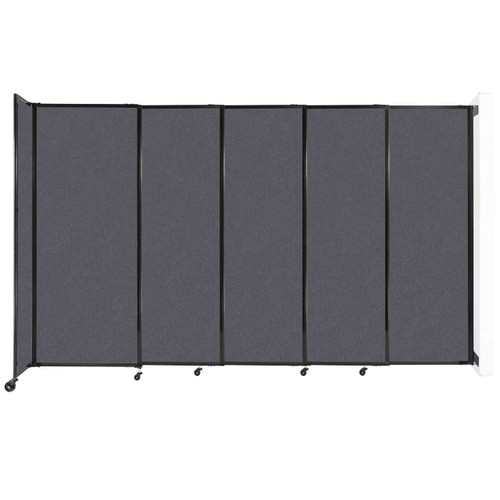 """Wall-Mounted StraightWall Sliding Partition 11'3"""" x 6'10"""" Dark Gray High Density Polyester"""