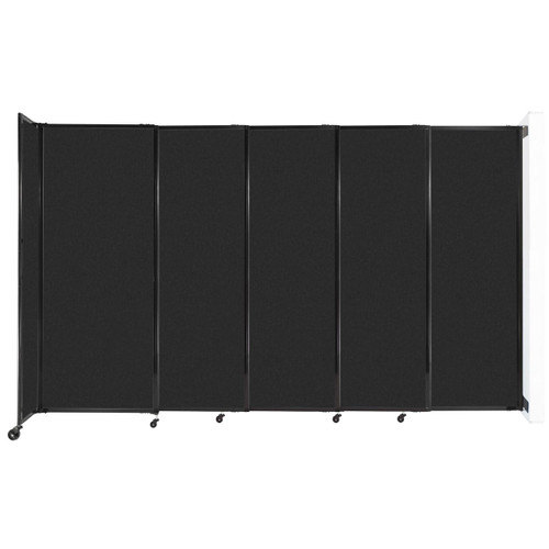 """Wall-Mounted StraightWall Sliding Partition 11'3"""" x 6'10"""" Black High Density Polyester"""