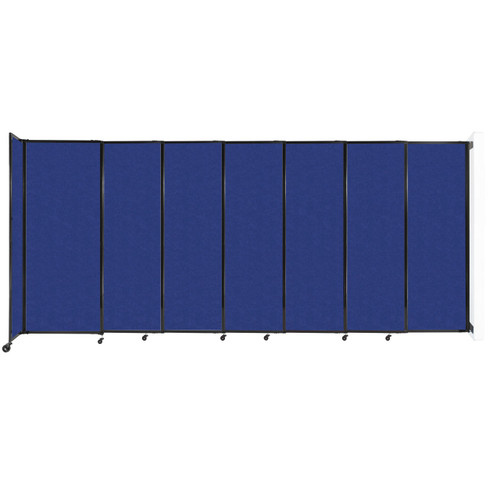 """Wall-Mounted StraightWall Sliding Partition 15'6"""" x 6'10"""" Blue High Density Polyester"""