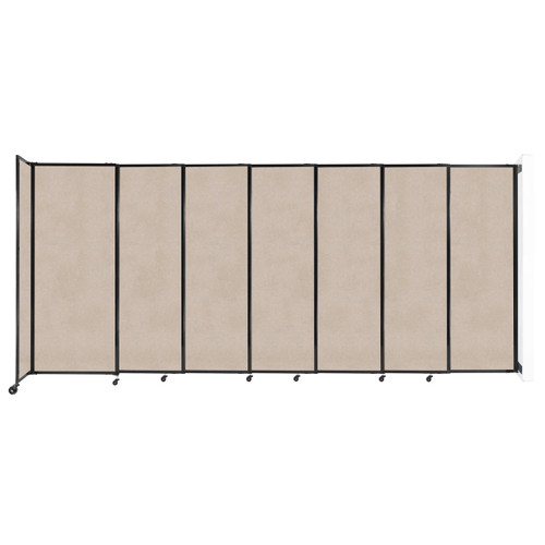 """Wall-Mounted StraightWall Sliding Partition 15'6"""" x 6'10"""" Beige High Density Polyester"""