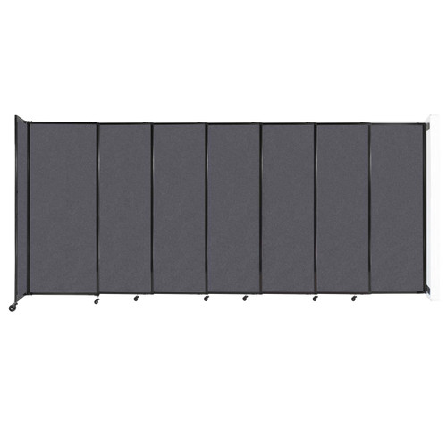 """Wall-Mounted StraightWall Sliding Partition 15'6"""" x 6'10"""" Dark Gray High Density Polyester"""