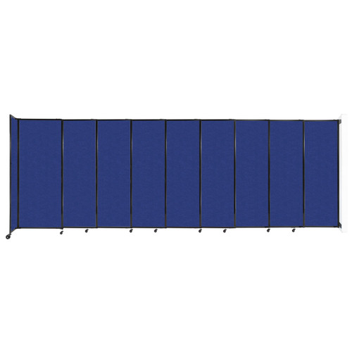 """Wall-Mounted StraightWall Sliding Partition 19'9"""" x 6'10"""" Blue High Density Polyester"""