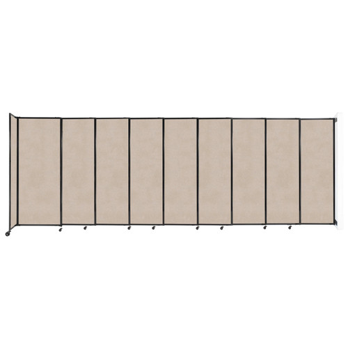 """Wall-Mounted StraightWall Sliding Partition 19'9"""" x 6'10"""" Beige High Density Polyester"""