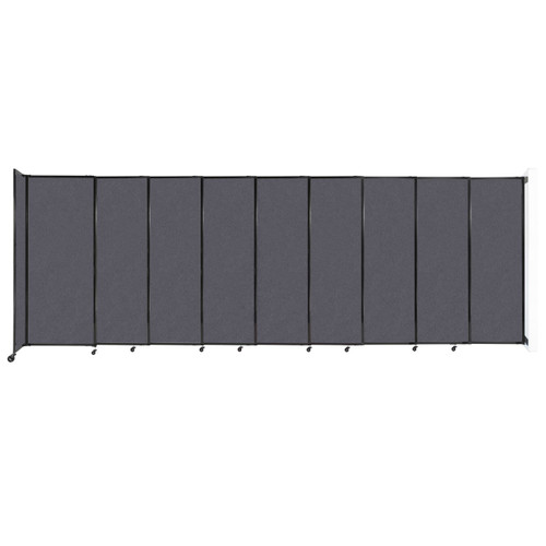 """Wall-Mounted StraightWall Sliding Partition 19'9"""" x 6'10"""" Dark Gray High Density Polyester"""