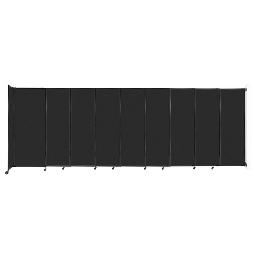 """Wall-Mounted StraightWall Sliding Partition 19'9"""" x 6'10"""" Black High Density Polyester"""