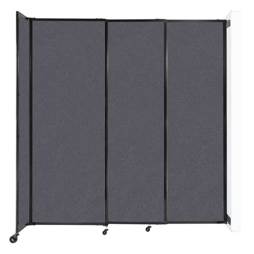 """Wall-Mounted StraightWall Sliding Partition 7'2"""" x 7'6"""" Dark Gray High Density Polyester"""