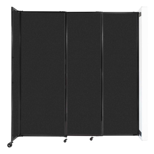 """Wall-Mounted StraightWall Sliding Partition 7'2"""" x 7'6"""" Black High Density Polyester"""