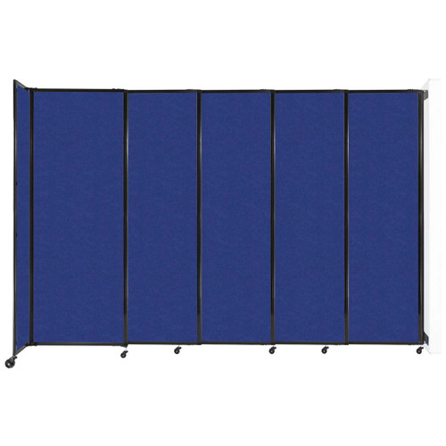 """Wall-Mounted StraightWall Sliding Partition 11'3"""" x 7'6"""" Blue High Density Polyester"""