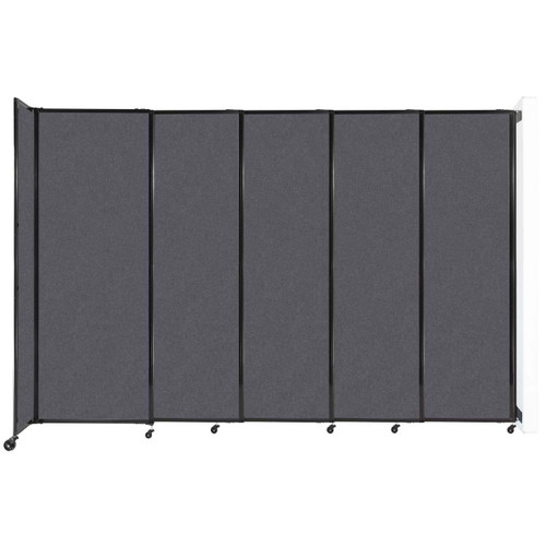 """Wall-Mounted StraightWall Sliding Partition 11'3"""" x 7'6"""" Dark Gray High Density Polyester"""