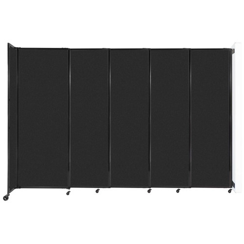 """Wall-Mounted StraightWall Sliding Partition 11'3"""" x 7'6"""" Black High Density Polyester"""