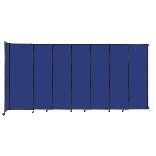 """Wall-Mounted StraightWall Sliding Partition 15'6"""" x 7'6"""" Blue High Density Polyester"""