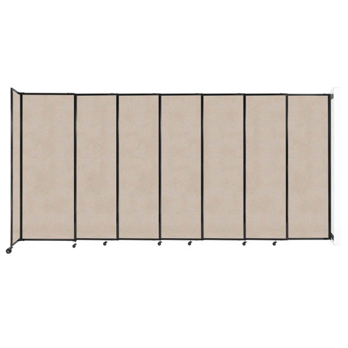 """Wall-Mounted StraightWall Sliding Partition 15'6"""" x 7'6"""" Beige High Density Polyester"""
