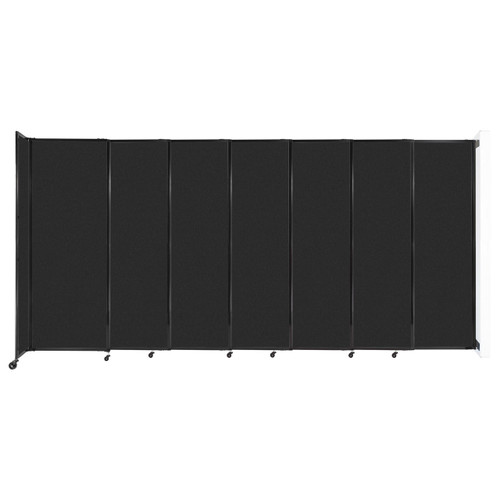 """Wall-Mounted StraightWall Sliding Partition 15'6"""" x 7'6"""" Black High Density Polyester"""