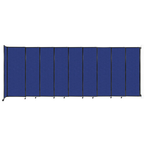 """Wall-Mounted StraightWall Sliding Partition 19'9"""" x 7'6"""" Blue High Density Polyester"""