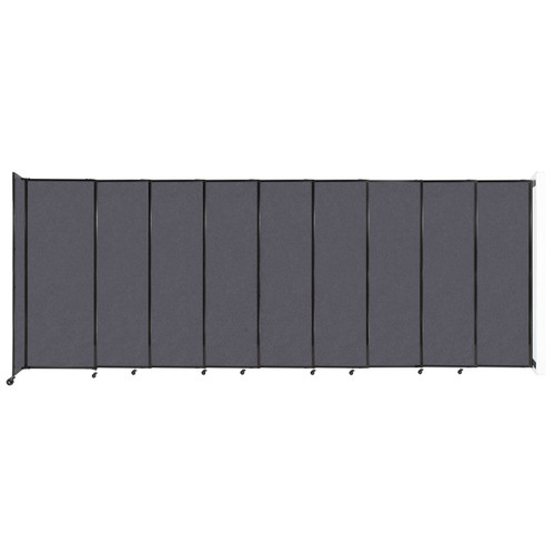"""Wall-Mounted StraightWall Sliding Partition 19'9"""" x 7'6"""" Dark Gray High Density Polyester"""