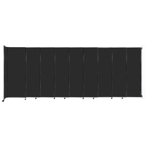 """Wall-Mounted StraightWall Sliding Partition 19'9"""" x 7'6"""" Black High Density Polyester"""