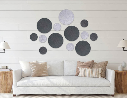 Patio wall design with the SoundSorb Circles
