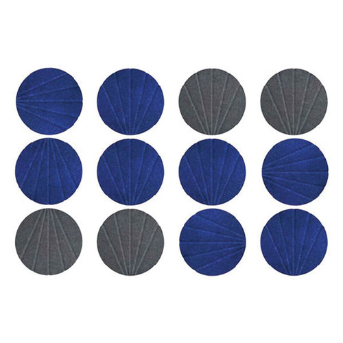 Blue and Dark Gray SoundSorb Circles with patterns
