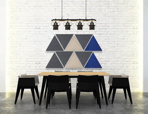 Dining room area with beige, dark gray and blue SoundSorb triangles
