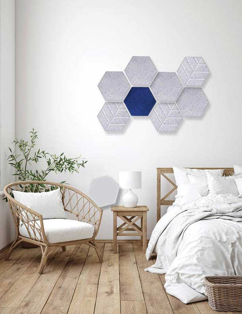 Bedroom designed with SoundSorb Hexagons using marble gray and blue colors