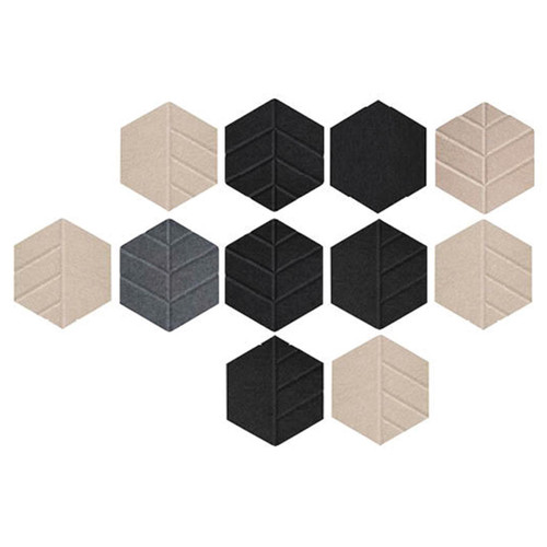 Beige, Dark Gray and Black SoundSorb Hexagons with all designs