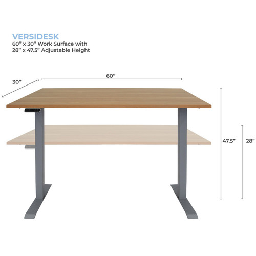 """The VersiDesk can adjust heights from 28"""" to 47.5"""" by the touch of a button."""