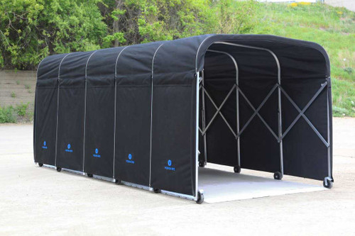 Open ended portable equipment shelter with flooring.