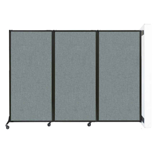 """Wall-Mounted QuickWall Sliding Partition 7' x 5'10"""" Sea Green Fabric"""