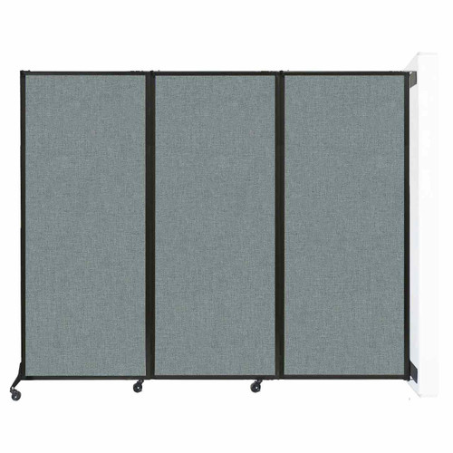 """Wall-Mounted QuickWall Sliding Partition 7' x 6'8"""" Sea Green Fabric"""