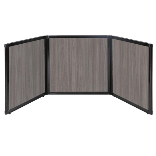 "Folding Tabletop Display 78"" x 24"" Gray Elm Wood Grain"