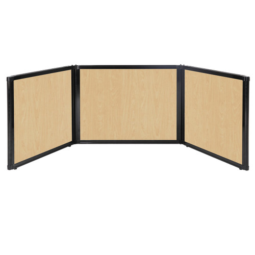 "Folding Tabletop Display 99"" x 24"" Natural Maple Wood Grain"