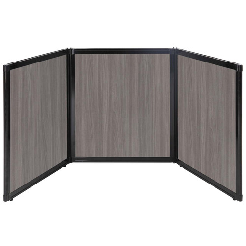 "Folding Tabletop Display 99"" x 36"" Gray Elm Wood Grain"