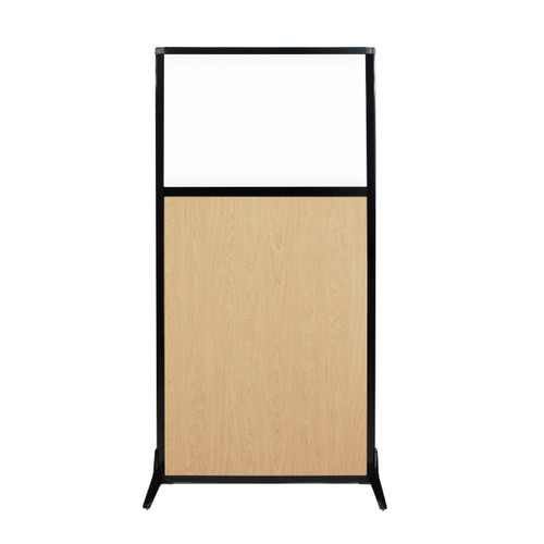 """Work Station Screen 33"""" x 70"""" Natural Maple Wood Grain With Clear Window"""