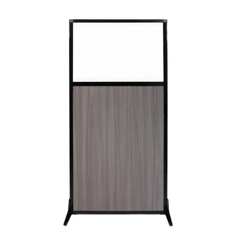 """Work Station Screen 33"""" x 70"""" Gray Elm Wood Grain With Clear Window"""