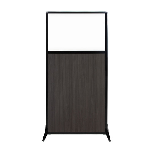 "Work Station Screen 33"" x 70"" Carbon Ash Wood Grain With Clear Window"