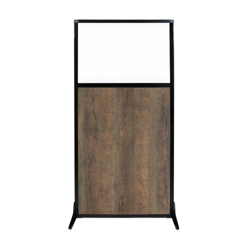 "Work Station Screen 33"" x 70"" Urban Oak Wood Grain With Clear Window"