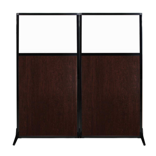 "Work Station Screen 66"" x 70"" Espresso Cherry Wood Grain With Clear Window"