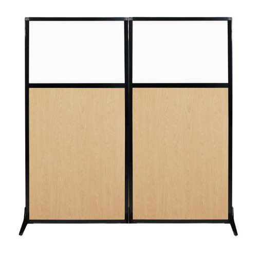 """Work Station Screen 66"""" x 70"""" Natural Maple Wood Grain With Clear Window"""