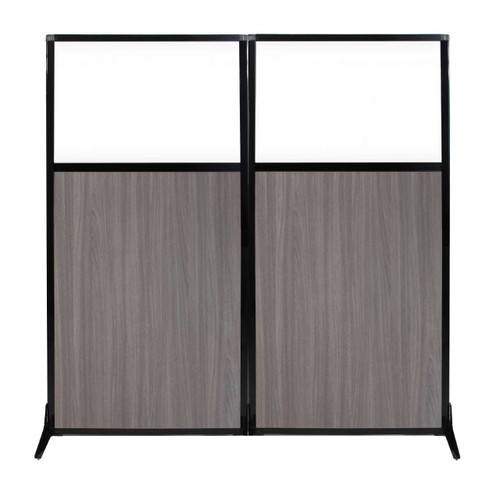 "Work Station Screen 66"" x 70"" Gray Elm Wood Grain With Clear Window"