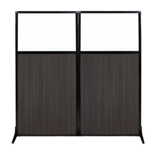 "Work Station Screen 66"" x 70"" Carbon Ash Wood Grain With Clear Window"