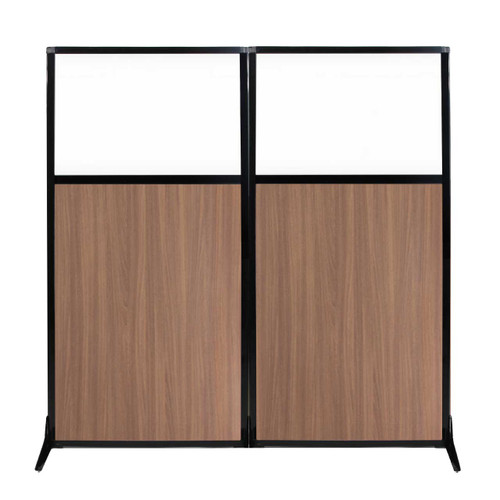 "Work Station Screen 66"" x 70"" River Birch Wood Grain With Clear Window"