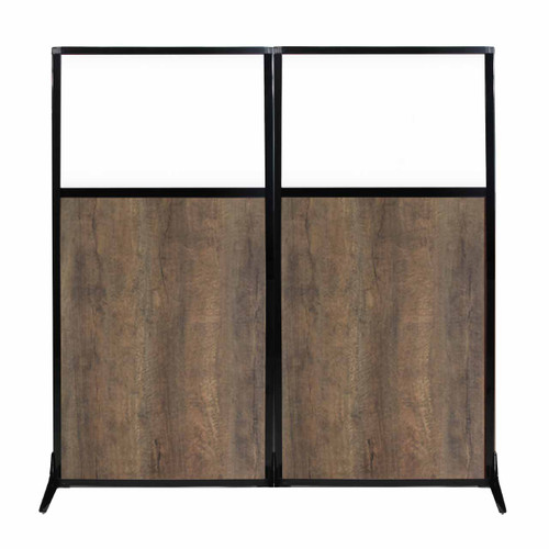 "Work Station Screen 66"" x 70"" Urban Oak Wood Grain With Clear Window"