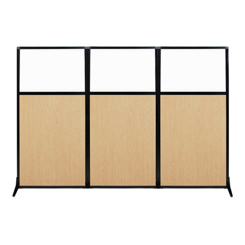 "Work Station Screen 99"" x 70"" Natural Maple Wood Grain With Clear Window"