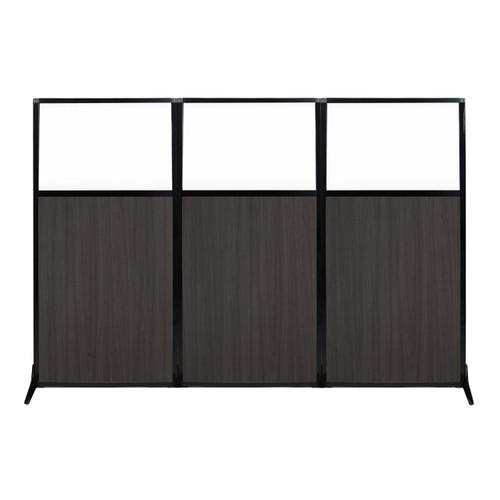 "Work Station Screen 99"" x 70"" Carbon Ash Wood Grain With Clear Window"