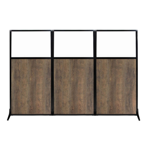 "Work Station Screen 99"" x 70"" Urban Oak Wood Grain With Clear Window"