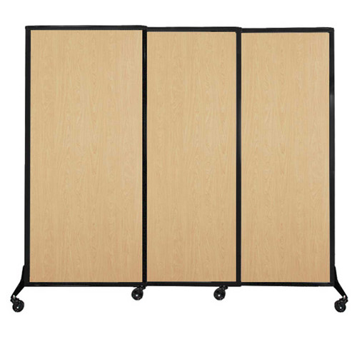 """QuickWall Sliding Portable Partition 7' x 5'10"""" Natural Maple Wood Grain"""