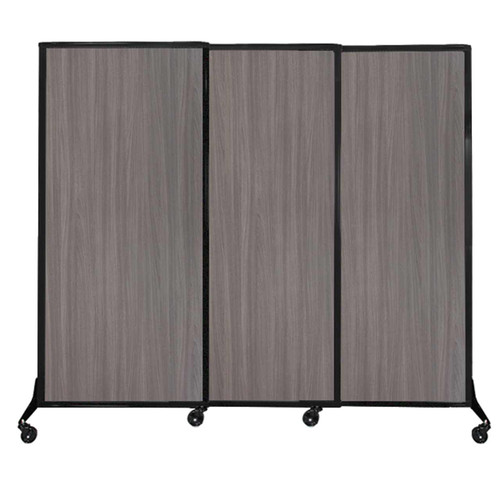 "QuickWall Sliding Portable Partition 7' x 5'10"" Gray Elm Wood Grain"
